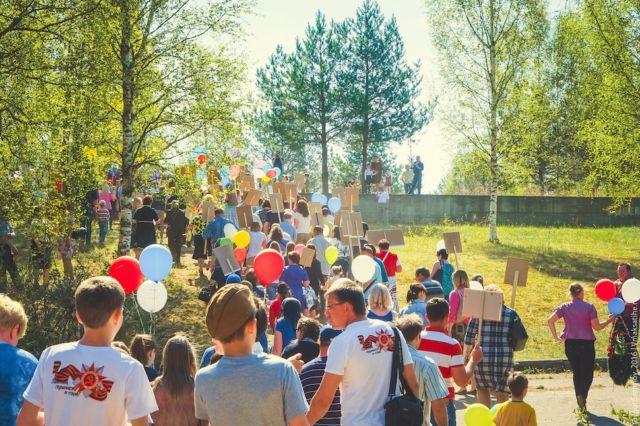Шествие Бессмертного полка в посёлке Максатиха 9 мая 2016 года