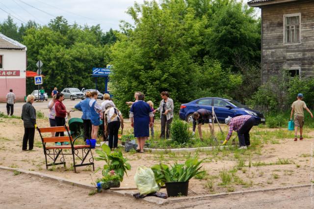 Максатихинцы сажают цветы на улице имени Нового