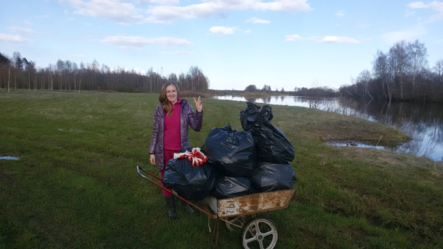 Уборка мусора у деревни Кузнецы Максатихинского района