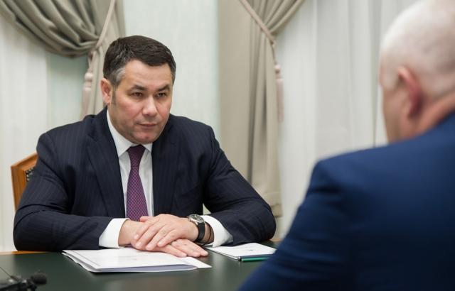 Игорь Руденя провёл встречу с главой Максатихинского района Константином Паскиным