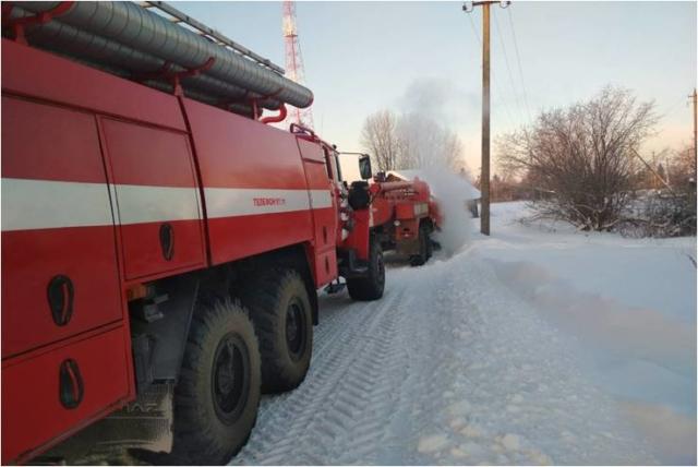 Пожар в посёлке Малышево 1 февраля 2018 года